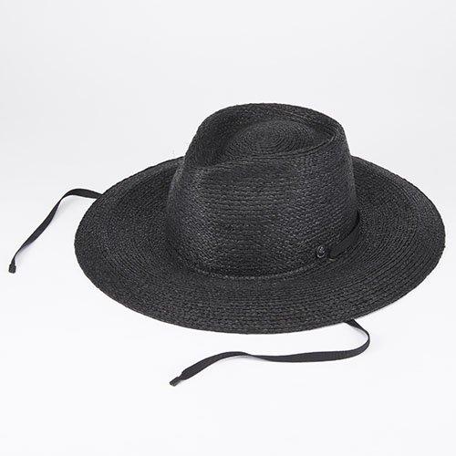 <font color=red>NEW</font> FRONT PINCH / RAFFIA LONG BRIM / BLACK (フロントピンチ/ ラフィアロングブリム/ ブラック)「帽子」