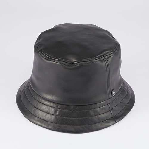 <font color=red>NEW </font> BUCKET HAT / SYNTHETIC LEATHER / BLACK(バケットハット/ シンセティックレザー/ ブラック)「帽子」
