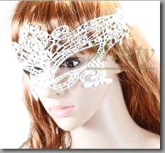 大人のホワイト白♪全糸製のヴィクトリアンレースのアイマスク630whミンティーminty