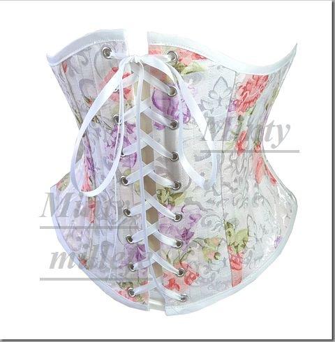 クラシカルブーケ♪ロマンチックな薔薇お花畑ショートタイプのアンダーバストコルセットボーン3層881whflower3s~X…