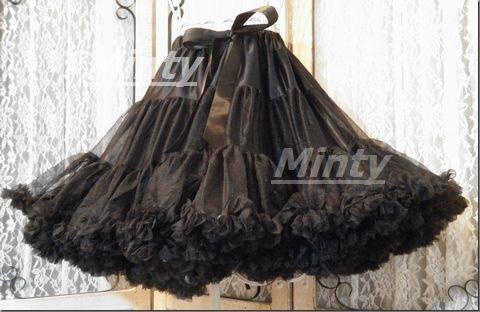 ふわふわ小悪魔系パニエ♪ブラック黒3層重ね裾フリルチュールパニエall bk small