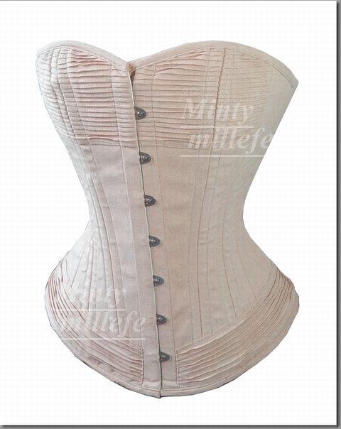 ヴィクトリアン♪アンティークコットン調アイボリー生成り色に胸元裾に織り込み装飾のオーバーバストコルセット3層3枚重ね最強コルセットmintyミンティーmillefeミルフィー30201XXXS~…