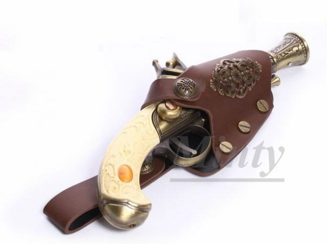 クラシカル&レトロなスチームパンク♪アイボリー&ブロンズ色の合金模型モデルガン鉄砲&レザー皮のホルスターケースセットS049-3RQ-…