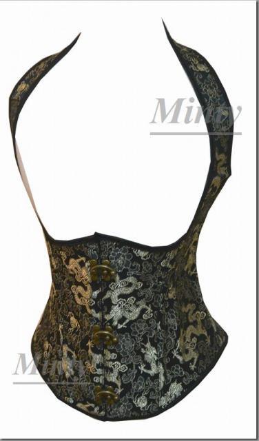 王妃のゴールドドラゴン刺繍♪胸のラインが綺麗なショルダーライン&バックル付アンダーバストコルセット1552S…