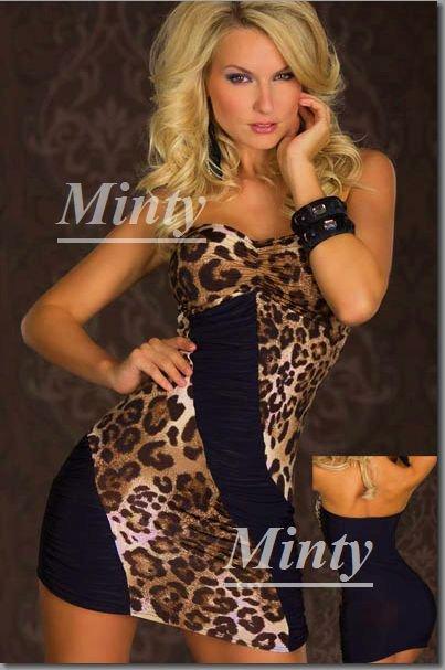mintyミンティーセクシー大人の豹柄レオパードx黒の切替ミニスカートワンピース9008