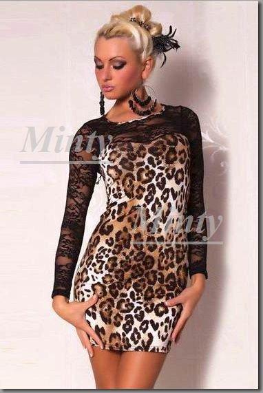 mintyミンティー♪大人可愛い豹柄レオパード&黒ブラック花柄レース切替の長袖ワンピース9420