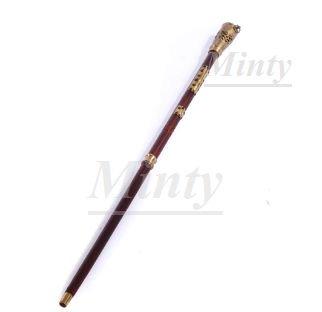 クラシカル&スチームパンク♪ブラス真鍮装飾&ライト付きブラウン茶色ステッキ0256RQ-BL