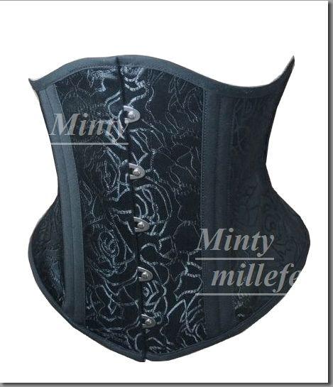 小悪魔ブラックローズ♪黒薔薇刺繍ダブルボーンのショートタイプの生地は3層3枚重ね最強コルセットmintyミンティーmillefeミルフィー3層331055bkrose3S…