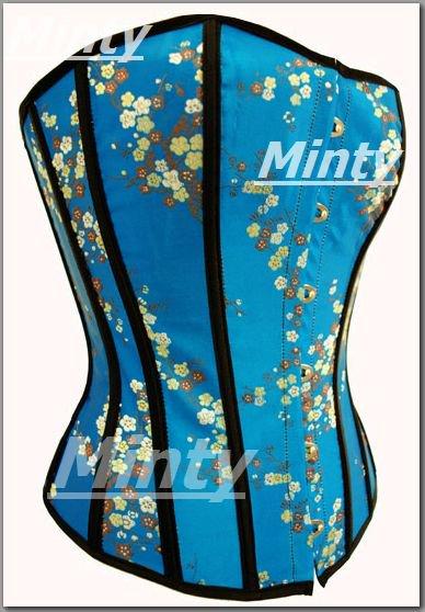 大人の小花柄 青x黒ラインが綺麗なコルセット S~XXL 9388 BU