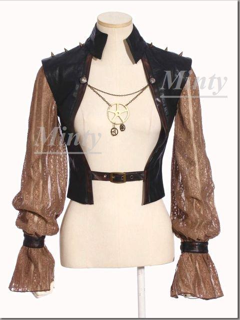クラシカル&レトロなスチームパンク♪ブラック黒にブラウン合皮&袖レースとブロンズ銅色チェーン飾り付きジャケット784RQ-BL