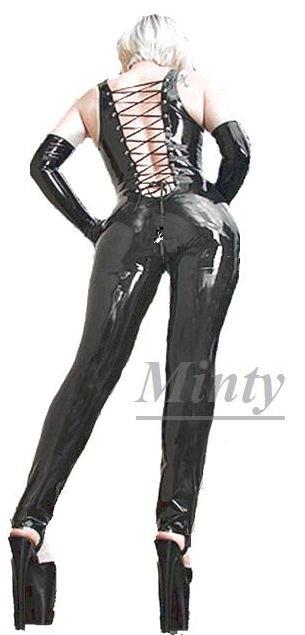 濡れ艶ブラック黒♪背中がセクシーなバックレースアップぴったりフィット素材長袖パンツタイプのキャットスーツ&手袋セットミンティーminty10…
