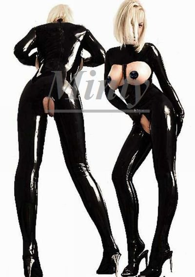 Hな胸元&股部分オープン♪黒PVCHな胸元オープン♪艶やかフィット素材セクシー胸元&股オープンキャットスーツパンツタイプS~Lサイズ1077ミンティーmin…