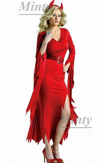 ハロウィンにも最適♪デビルウーマン真っ赤のギザギザ裾ラインのワンピース&デビルカチューシャベルト3点セット1664ミンティーmin…