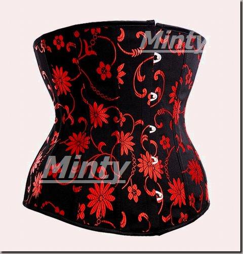 大人の黒x赤い花織りアンダーバストコルセット XS~XXL 422flower