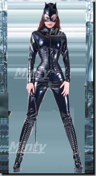 Cat woman★PVCキャットスーツ&PVCブラック黒地のコルセットに猫型マスクの3点セット9202ミンティーmin…