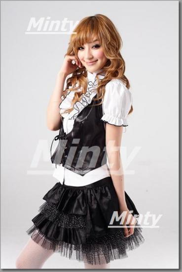 超姫!★パフスリーブ白い胸元ふわふわシャツ&水玉チュールx黒4段スカート3点セット3285
