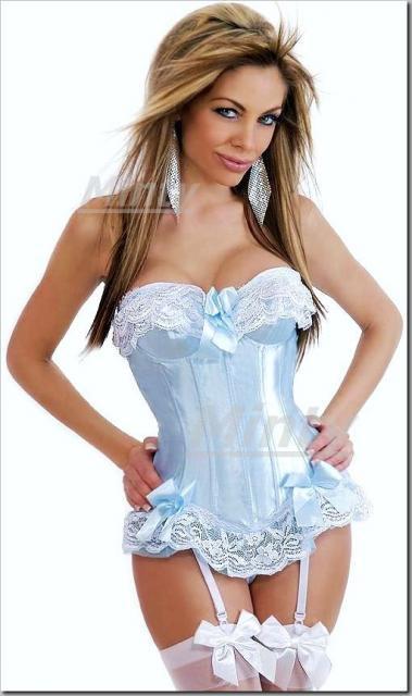 SWEETな姫系♪ベビーブルーのチュールレース&白レース リボンのガーターラインコルセットS~XLH1311