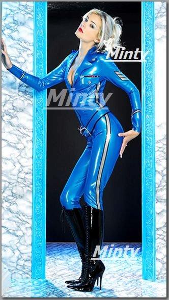 胸元がセクシーな鮮やかブルー青色に白いラインがセクシーなPVCキャットスーツ パンツ9511S~M