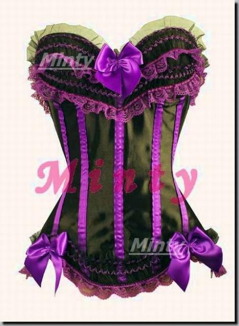 小悪魔パープル♪黒地に黒チュールレース&紫レース・リボンコルセットS~XL8068purple