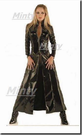 mintyミンティー♪クールなブラック♪黒いPVCmatrixマトリックス調のロングコートS〜XL1106