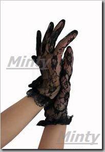 小花柄の総レースショートグローブ 手袋 黒9058