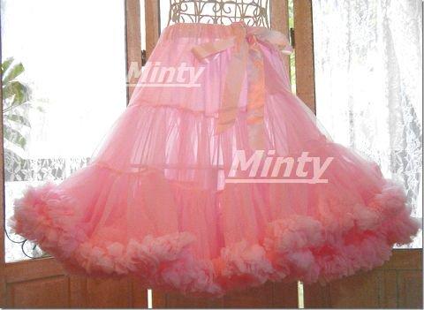 ふわふわ姫系パニエ♪姫系ベビーピンクプルの3段裾フリルのボリュームチュールパニエmintyミンティ
