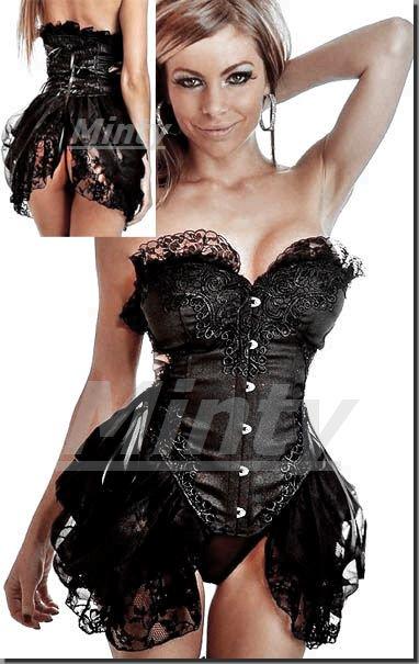 豪華なドレスビスチェ♪黒チュール&レース装飾のふんわりバッスルスカートのようなオーバーバストタイプ
