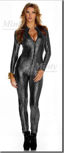 パイソン柄♪メタリックシルバー銀スネーク蛇柄ぴったりフィット素材の長袖パンツタイプのキャットスーツ