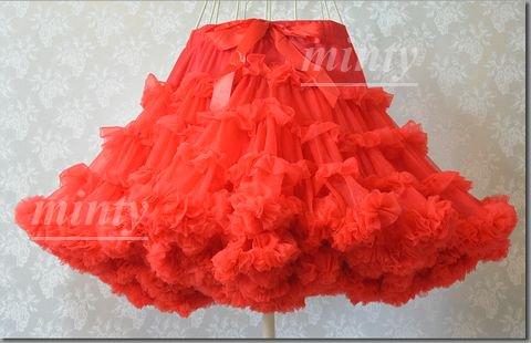 ふわふわ姫系パニエ♪レッド赤色の4段フリルボリュームチュールパニエのビッグサイズall red 4dan