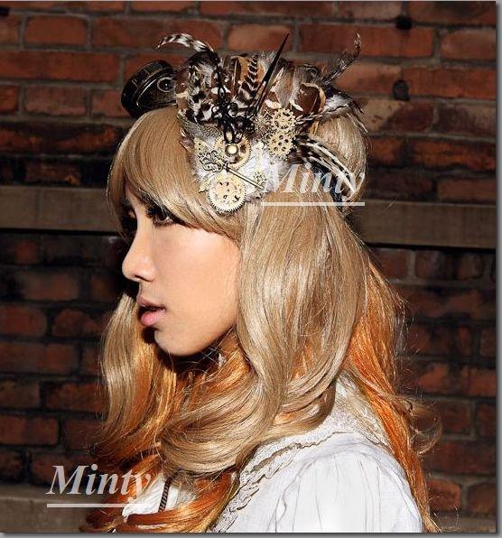 クラシカル&スチームパンク♪ブラウンフェザー羽根飾りのヘッドアクセサリーヘッドドレス014RQ-BL