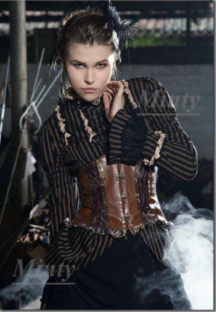 クラシカル&レトロなスチームパンク♪黒地にライトブラウンストライプの袖と裾がドレスの様なドレスブラウス776RQ-BLS~XXL
