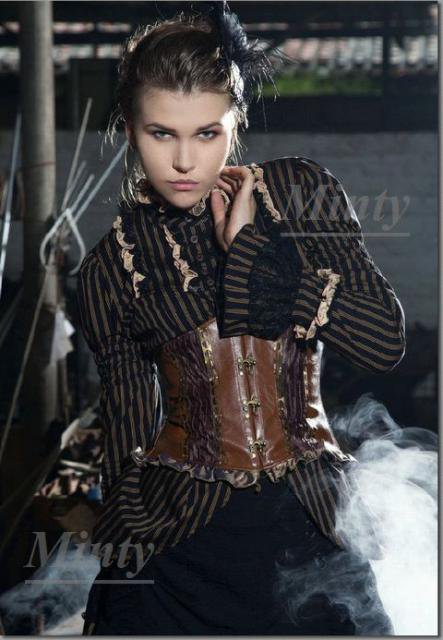 クラシカル&レトロなスチームパンク♪黒地にライトブラウンストライプの袖と裾がドレスの様なドレスブラウス776RQ-…