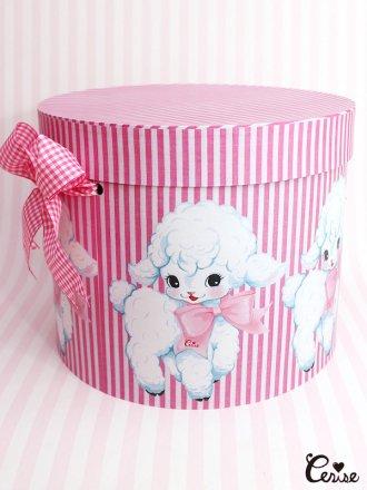 Hat Box マシュマロラム帽子箱(ピンクストライプ)