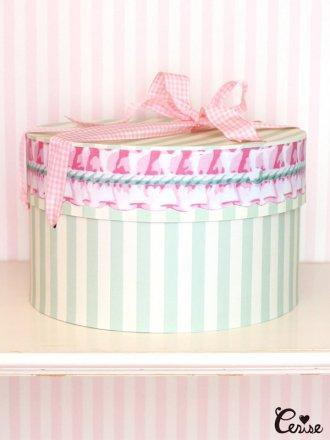 Hat Box フリルストライプ帽子箱(メロン)