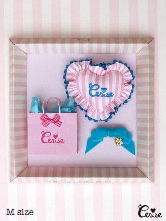 Cerise ミニクッション&リボン for Dolls(ピンクLストライプ)