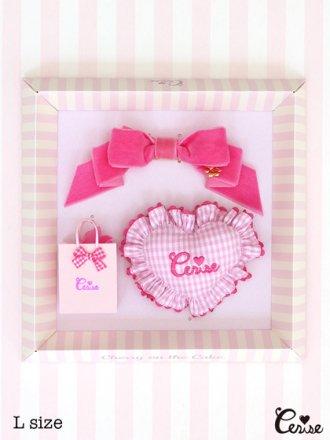 Cerise ミニクッション&リボン for Dolls(ベビーピンクSギンガム)