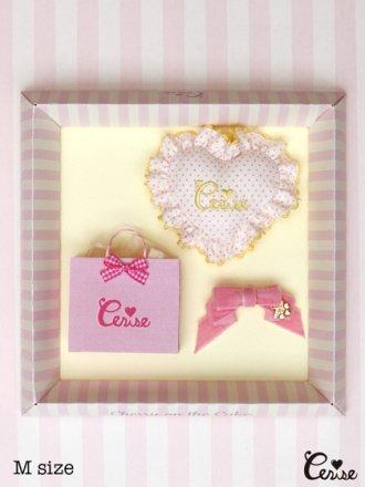 Cerise ミニクッション&リボン for Dolls(オフ白×ベビーピンク×イエロー)