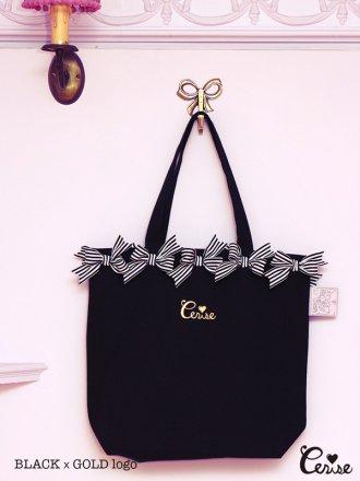 Cerise リボンリボントートBag(M)(ブラック×ゴールド)
