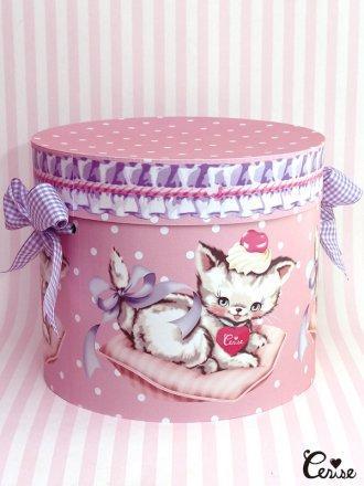 Hat Box クッションキャット×フリルドット帽子箱(ピンク)