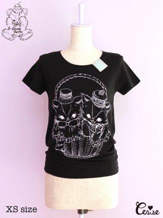Cerise クリーミーキャットpt. Tシャツ (ブラック)