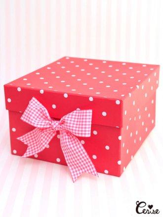 Hat Box ドットpt.収納BOX (レッド)