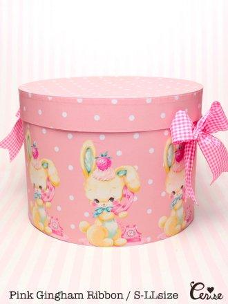Hat Box テレフォンバニー帽子箱(ピンクドット)