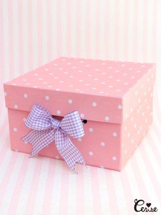 Hat Box ドットpt.収納BOX (ピンク)
