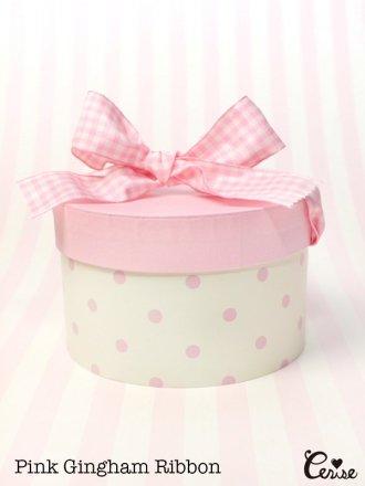 Hat Box プチハットボックス(オフ白×ピンクドット)
