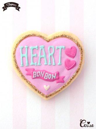 Toyme ハートボンボンカンブローチ(ピンク)