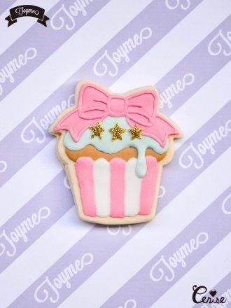 Toyme リボンカップケーキブローチ(ピンク×ミント)