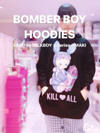 LAND by MILKBOY × Cerise BOMBER BOY HOODIES (ブラック)