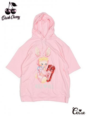 LAND by MILKBOY × Cerise BOMBER BOY SHORT SLEEVE HOODIES (ピンク)