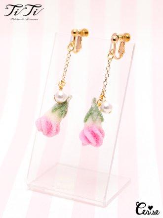 TiTi キャンディードローズイヤリング (ピンク)