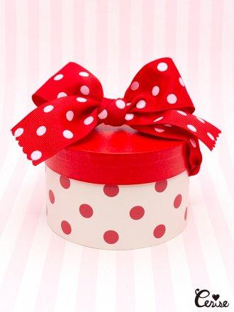 Hat Box プチハットボックス (オフ白×レッドドット)